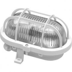 Hublot Ovale + grille de protection 60 w à vis Blanc E 27