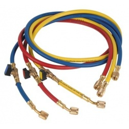 "3 Flexibles Long 1500 mm 5/16 """" Gaz R 410 Bleu Rouge Jaune"