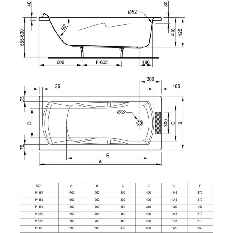 baignoire acrylique ulysse 2 160 x 75 blanc p 1158 01. Black Bedroom Furniture Sets. Home Design Ideas