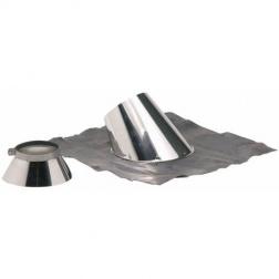 Solin larmier Inox +bavette plomb 30 à 45° Ø 80 / 130