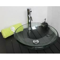 Vasque à poser MITRA en Verre Transparent Ø 420 X 140 mm sans trop plein