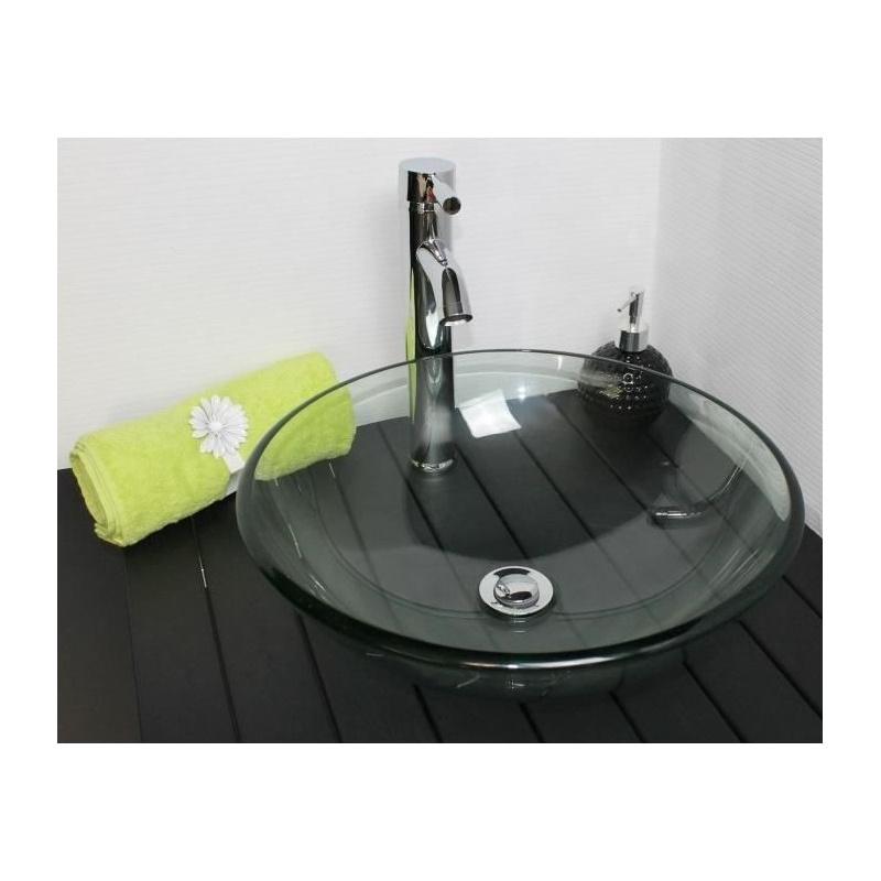 vasque poser mitra en verre transparent 420 x 140 mm sans trop plein discount negoce com. Black Bedroom Furniture Sets. Home Design Ideas