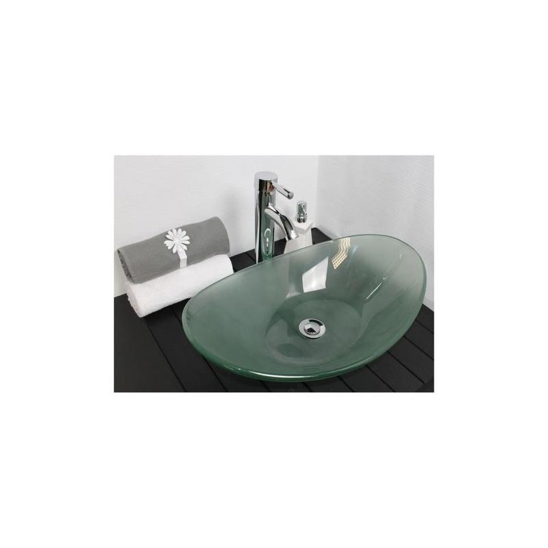 vasque poser pirogue en verre sabl 560 x 365 x 150 mm. Black Bedroom Furniture Sets. Home Design Ideas