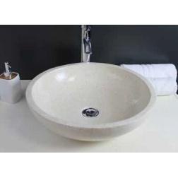 Vasque à poser GELA en Pierre Creme Ø 400 X 130 mm