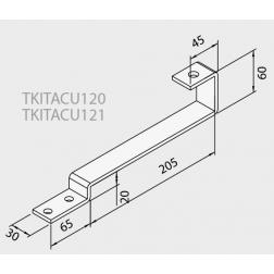 Ferrure d'ancrage fixation sur tuile plate pour 1 Capteurs TKITACU120