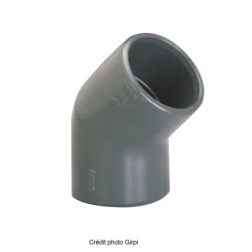 Coude PVC pression à coller Ø 50 F/F - 45°