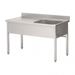 Plonge INOX Larg 600 - Long 1200 - 1 cuves + 1 Egoutoir G