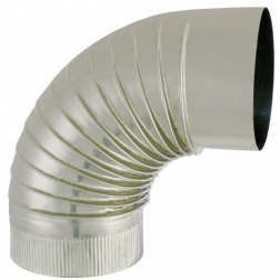 Coude plissé 90° S/Paroi Ø 125 - Inox 304