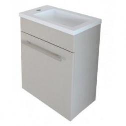 Meuble NINO Lave Main à suspendre Droit 420 mm Blanc Plan résine