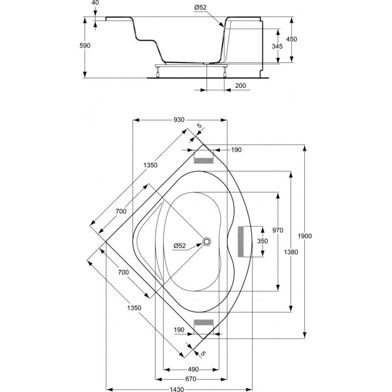 baignoire ulysse d 39 39 angle 135 x 135 blanc p 1071 01. Black Bedroom Furniture Sets. Home Design Ideas