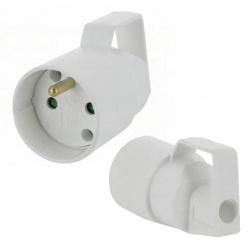 Prolongateur Femelle 16A - 2P T Plastique blanc à anneau