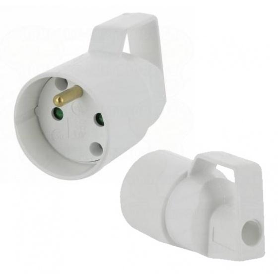 Prolongateur Femelle 16A - 2P+T Plastique blanc à anneau