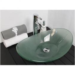 Vasque à poser PIROGUE en Verre Sablé 560 X 365 X 150 mm sans trop plein