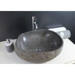 Vasque à poser RIVA en Pierre Naturelle Ø 300 X 160 mm Taillées dans un Galet naturel - Chaque modele et Unique