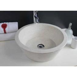 Vasque à poser BLOOM en Pierre Creme Ø 400 X 150 mm