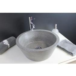 Vasque à poser BLOOM en Pierre Gris ciment Ø 400 X 150 mm