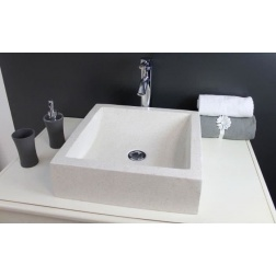 Vasque à poser KIARA en Pierre Creme Ø 400 X 400 X 115 mm