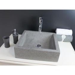 Vasque à poser KIARA en Pierre Gris ciment Ø 400 X 400 X 115 mm