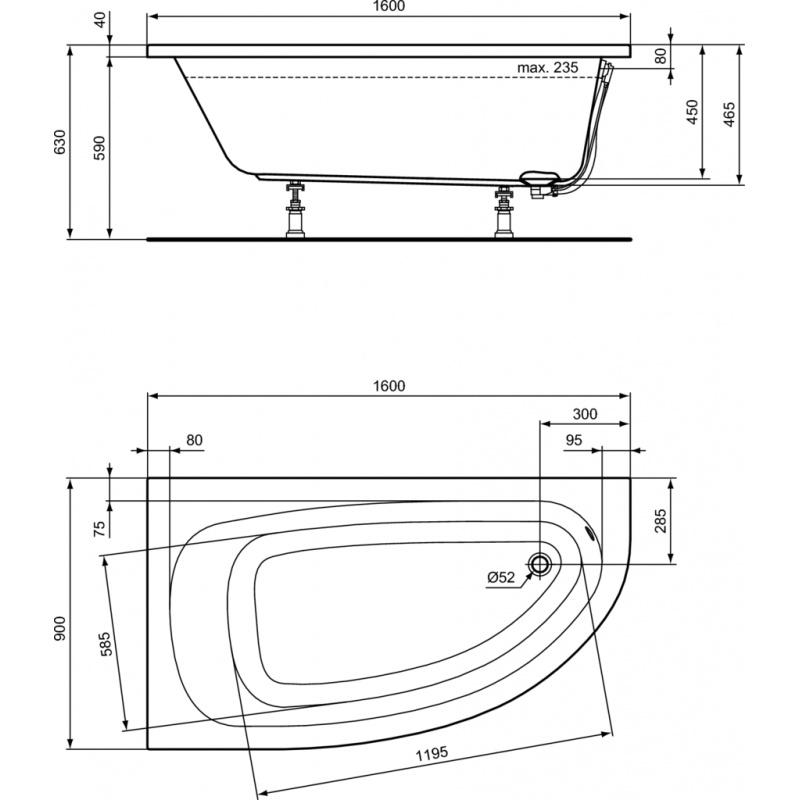 baignoire asymetrique gauche hotline 160 x 90 acrylique. Black Bedroom Furniture Sets. Home Design Ideas