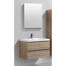 Ensemble Meuble de 600 BALI Chêne clair 2 Tiroirs + Vasque simple en marbre de synthèse + Miroir rectangulaire