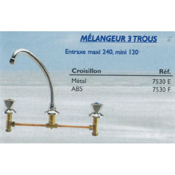 Mélangeur Evier 3 trous Entraxe 120 / 240 mm - 7530E