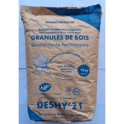 Sac 15 kg granulé Bois Ø 6 mm NF 100 % feuillu chêne et hêtre.