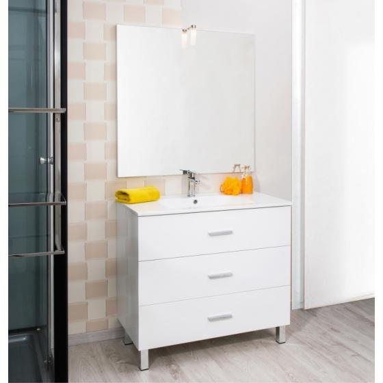 Meuble MONTECARLO sur pied de 900 mm Blanc + Plan vasque Céramique