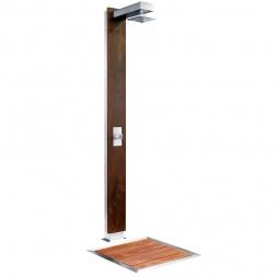 Douche PLUVIUM Inox & bois exotique Ht 2070 mm avec plateau bois